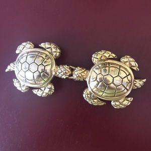 Vintage brass turtle belt buckle
